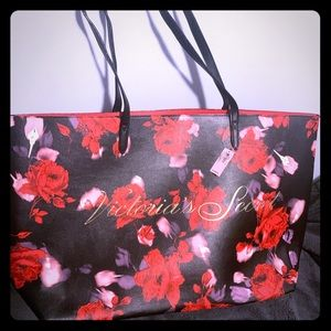 Gorgeous red and pink flower VS tote bag